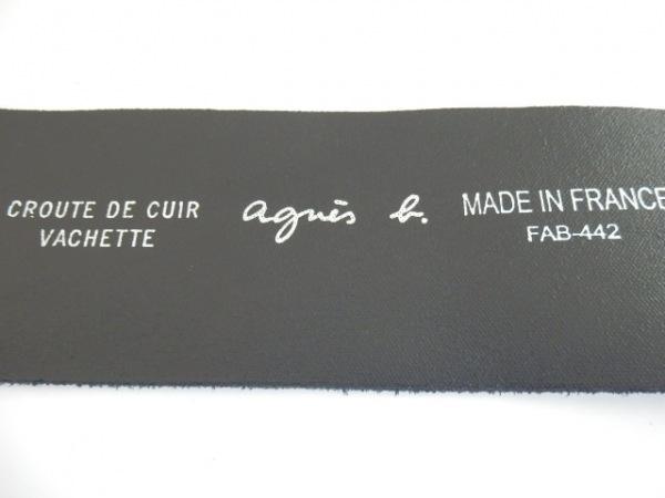 agnes b(アニエスベー) ベルト 80 黒×ゴールド スエード×レザー×金属素材