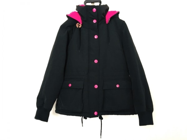 RODEOCROWNS(ロデオクラウンズ) ダウンジャケット サイズM レディース 黒×ピンク