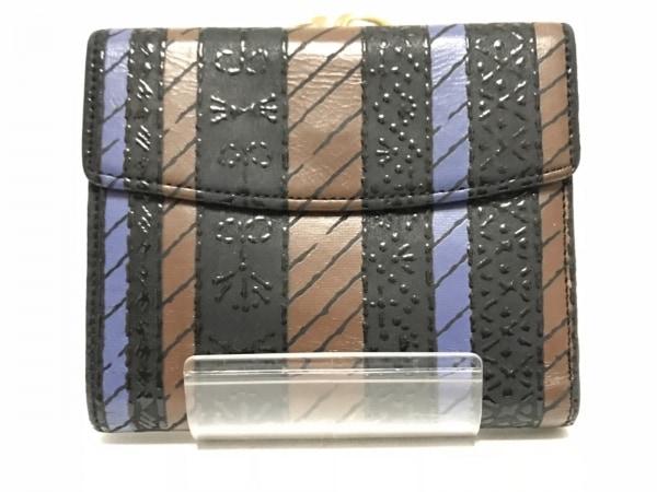 印傳屋(インデンヤ) 2つ折り財布 黒×ダークブラウン×ブルー がま口 レザー×漆