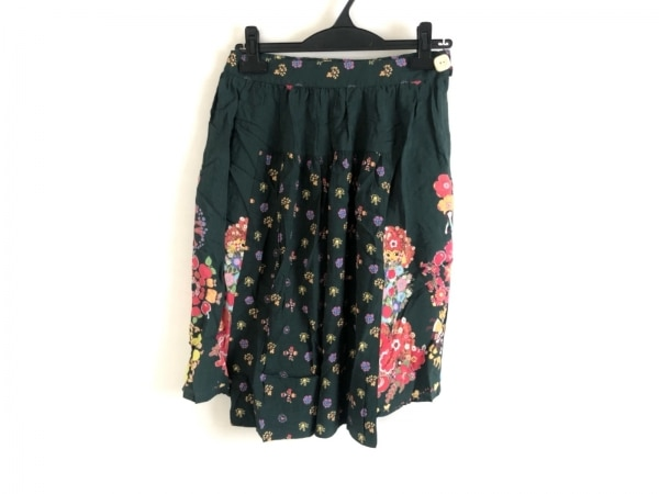 ムチャチャ スカート サイズ1 S レディース美品  グリーン×ピンク×マルチ 花柄