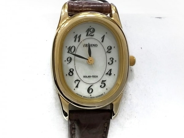 REGUNO(レグノ) 腕時計 E031-T017240 レディース 革ベルト/型押し加工 アイボリー