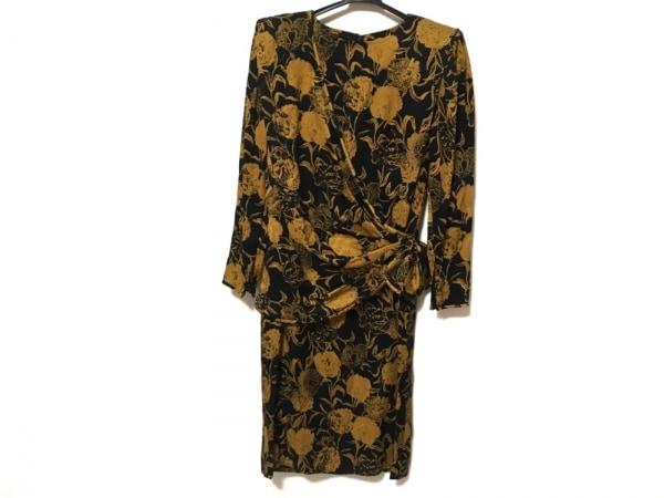 Ungaro(ウンガロ) ワンピース サイズ7 S レディース美品  黒×オレンジ 花柄/肩パッド