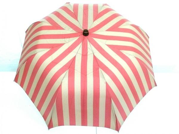 マリア・フランチェスコ 折りたたみ傘美品  ベージュ×レッド ストライプ