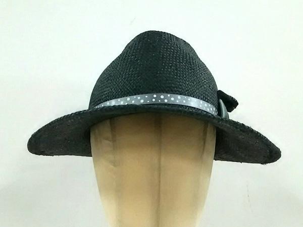 CA4LA(カシラ) 帽子 黒×グリーン リボン ストロー