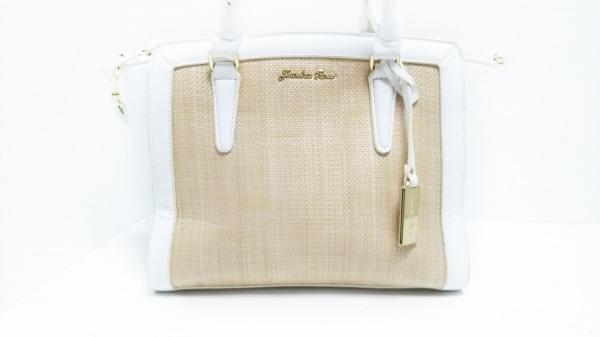 Jewelna Rose(ジュエルナローズ) ハンドバッグ 白×ベージュ 合皮×ストロー