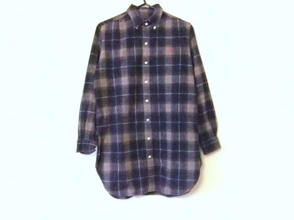ジムフレックス 長袖シャツ サイズ12 メンズ ネイビー×ダークブラウン×マルチ