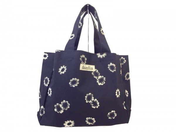DAZZLIN(ダズリン) トートバッグ 黒×アイボリー 花柄 ナイロン