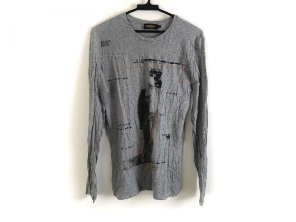 ディーゼルブラックゴールド 長袖Tシャツ サイズM メンズ美品  グレー×マルチ