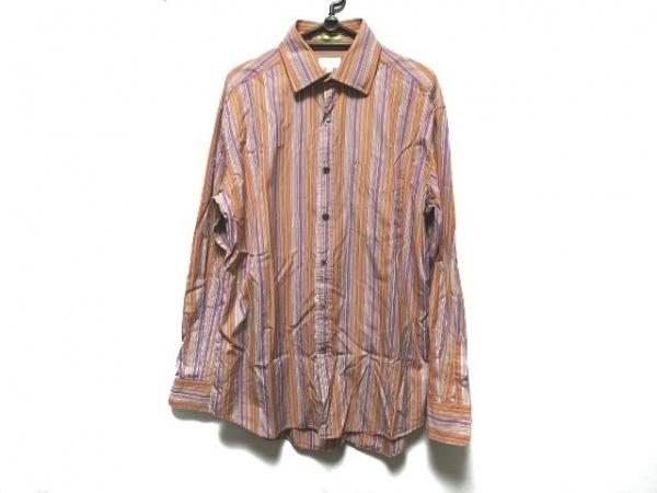 ポールスミス 長袖シャツ サイズL メンズ美品  パープル×オレンジ×マルチ