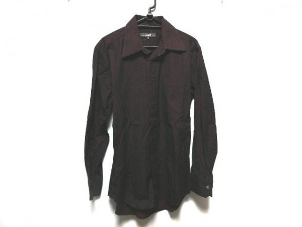 ゴルチエオム オブジェ 長袖シャツ サイズ48 XL メンズ ボルドー ストライプ