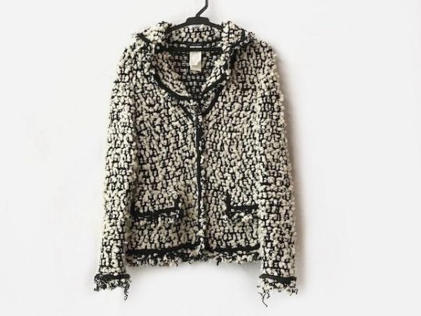 PEGORER(ペゴレール) ジャケット サイズ42 L レディース美品  白×黒 ニット/フリンジ