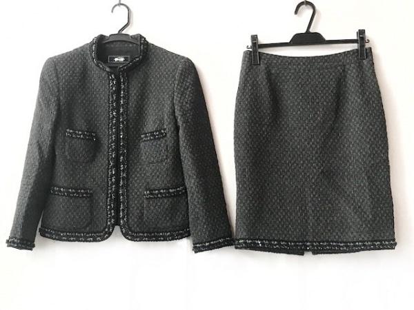 ギンザマギー スカートスーツ サイズ38 M レディース ダークグレー×黒×シルバー