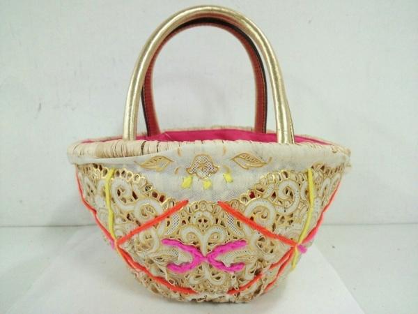 ジュエルナローズ ハンドバッグ美品  アイボリー×ゴールド×マルチ かごバッグ