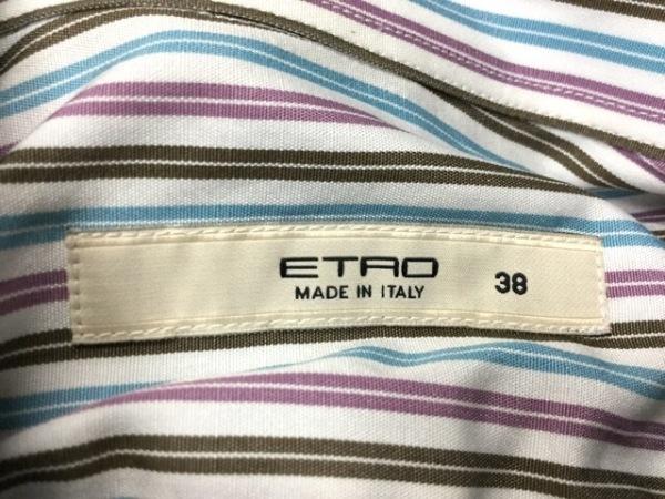 エトロ 長袖シャツブラウス サイズ38 S レディース ブルー×パープル×ダークブラウン