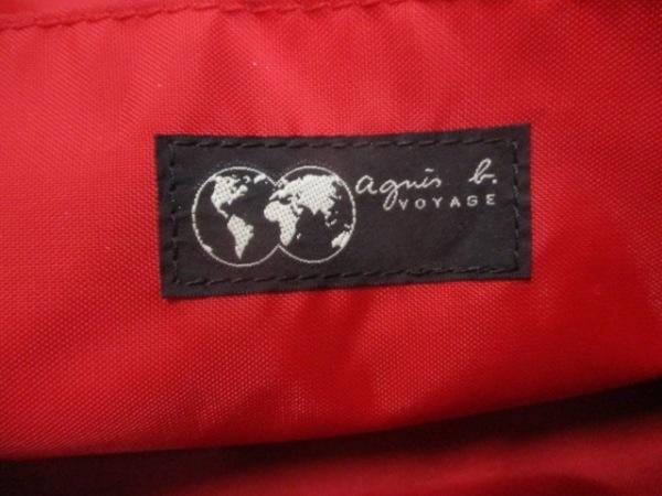 agnes b(アニエスベー) トートバッグ 黒×白×レッド ナイロン