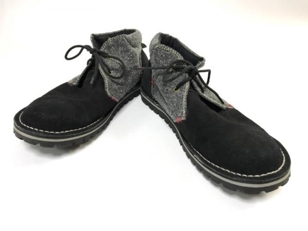 Indian(インディアン) ショートブーツ 26 メンズ 黒×グレー スエード×ウール
