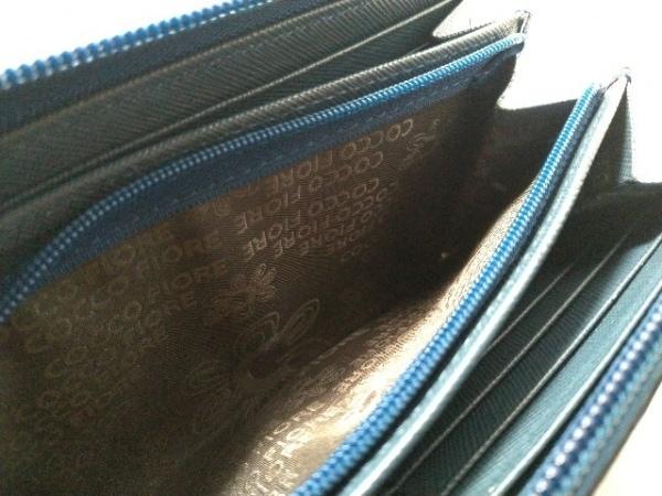 コッコフィオーレ 長財布美品  ネイビー×グレー×ブルー エナメル(レザー)
