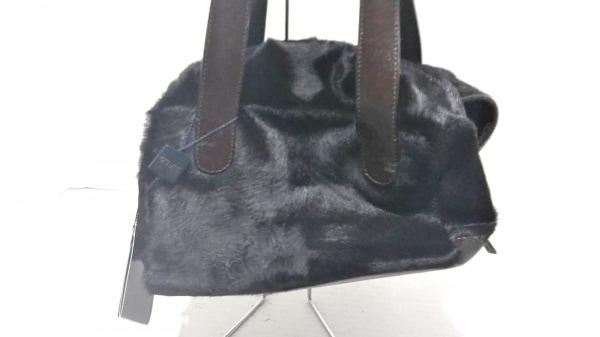 GUIA'S(グイアス) ハンドバッグ美品  黒×ダークブラウン ハラコ×レザー