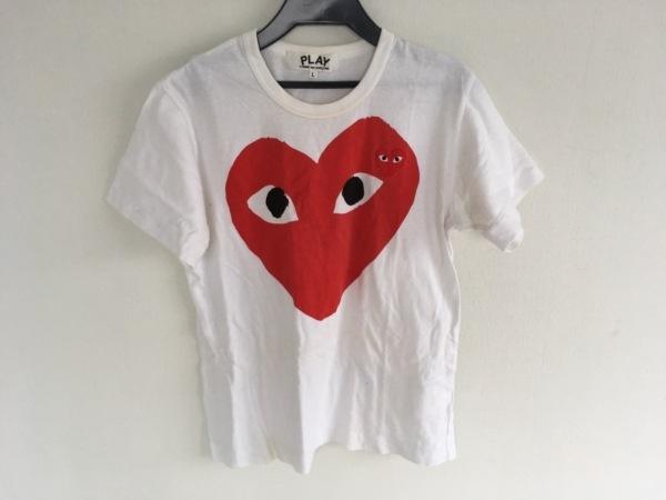 プレイコムデギャルソン 半袖Tシャツ サイズL レディース 白×レッド×黒 ハート