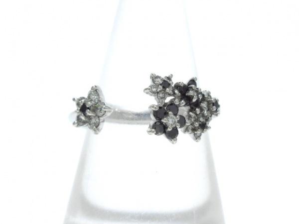 ポンテヴェキオ リング美品  K18WG×ダイヤモンド×ブラックダイヤモンド 黒