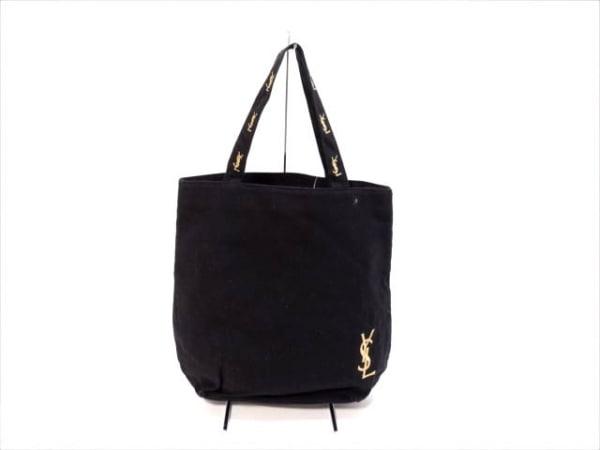 イヴサンローランパフューム トートバッグ 黒×ゴールド キャンバス