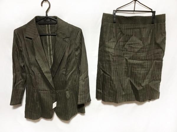 modify(モディファイ) スカートスーツ レディース カーキ×ダークグレー