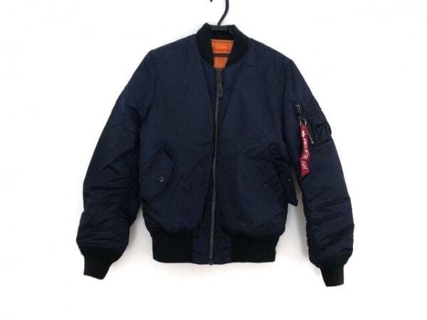 アルファ ブルゾン サイズM メンズ 黒×オレンジ 冬物/リバーシブル