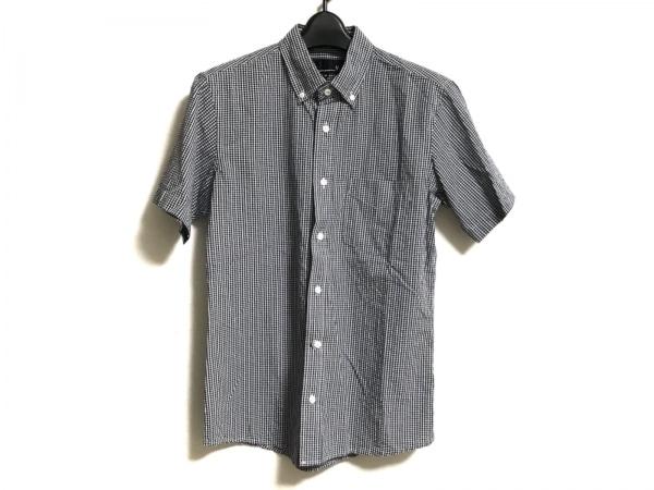 VAN(バン) 半袖シャツ サイズM メンズ ダークネイビー×白 チェック柄