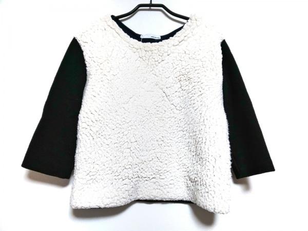 petite robe noire(プティローブノアー) 七分袖カットソー レディース 黒×アイボリー
