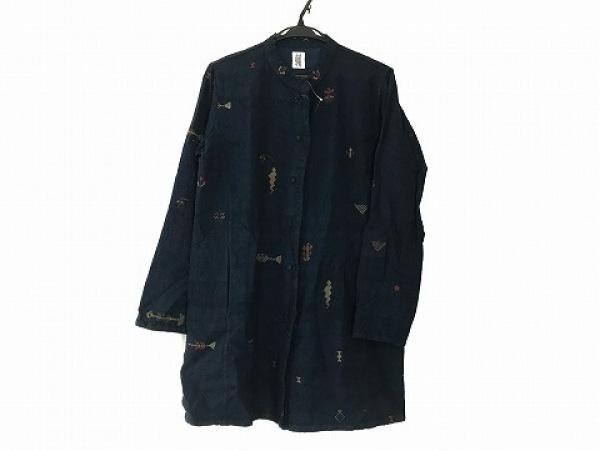 ハート コート サイズ3 L レディース ネイビー×レッド×マルチ 刺繍/春・秋物