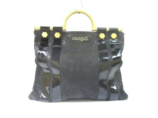 ガリアーノ ハンドバッグ 黒×ゴールド ヌバック×エナメル(レザー)×金属素材