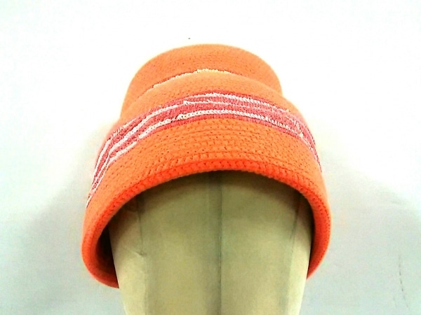 JACQUES LE CORRE(ジャックルコー) 帽子 オレンジ×ピンク×白 フリンジ/スパンコール