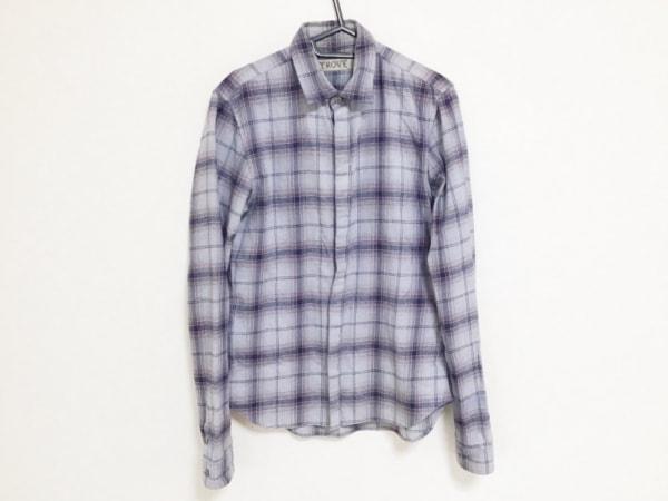 トローヴ 長袖シャツ サイズ3 L メンズ ライトブルー×ネイビー×レッド チェック柄