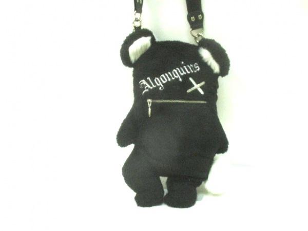 ALGONQUINS(アルゴンキン) ショルダーバッグ 黒×白×シルバー 刺繍 フェイクファー