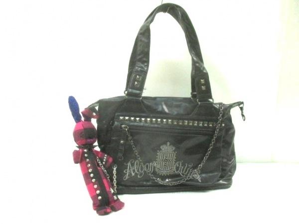 アルゴンキン ショルダーバッグ 黒×シルバー×マルチ 刺繍/スタッズ 合皮