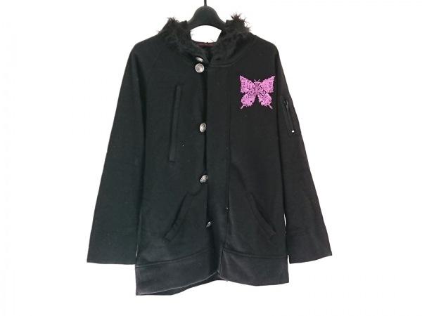 アルゴンキン コート サイズF レディース 黒×ピンク フェイクファー/刺繍/冬物