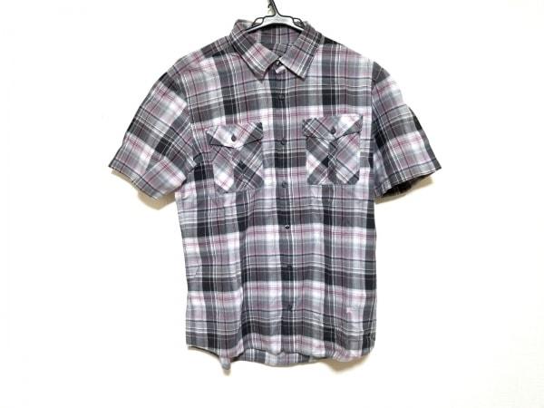 266e98939220d4 バーバリーブラックレーベル 半袖シャツ サイズ3 L メンズ美品 グレー×ピンク×白