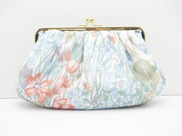 ポール&ジョー ポーチ美品  白×ライトブルー×マルチ がま口/花柄 ナイロン
