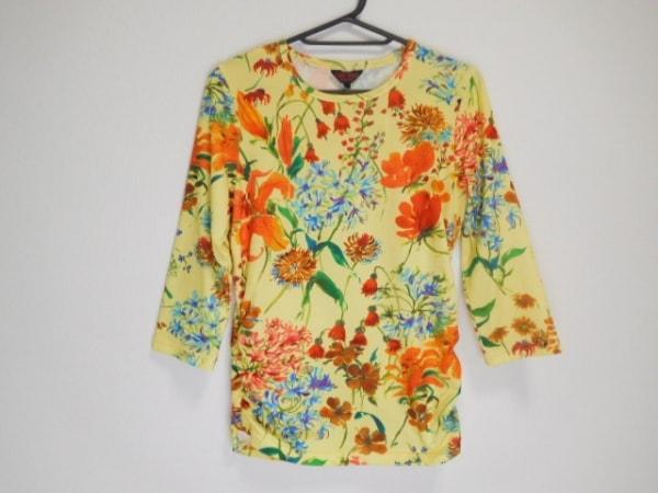ユキトリイ 長袖Tシャツ サイズ38 M レディース美品  イエロー×マルチ 花柄