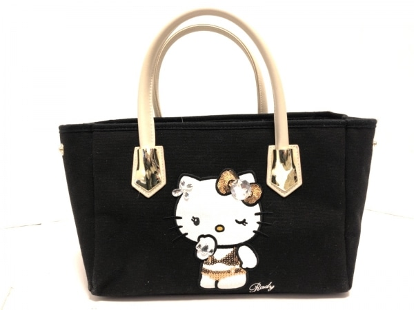 Rady(レディ) トートバッグ美品  黒×アイボリー Hello Kitty/ビジュー/スパンコール