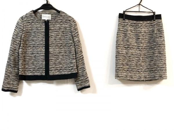 ラ トータリテ スカートスーツ サイズ38 M レディース ライトグレー×黒×マルチ