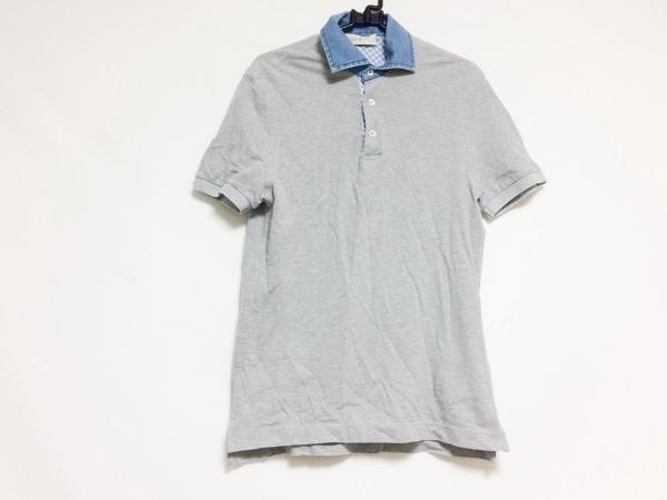 デラチアーナ 半袖ポロシャツ サイズ46 XL メンズ グレー×白×ブルー チェック柄