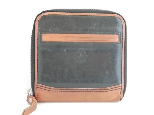 TAKEOKIKUCHI(タケオキクチ) 2つ折り財布 黒×ブラウン ラウンドファスナー レザー