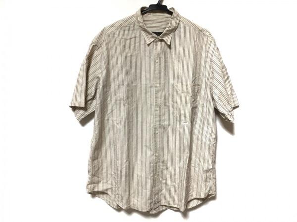 Papas(パパス) 半袖シャツ サイズL メンズ アイボリー×ボルドー×グレー ストライプ