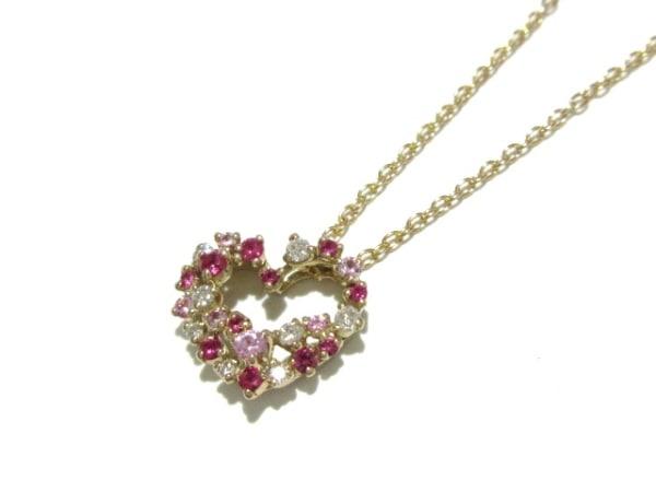 ポンテヴェキオ ネックレス美品  K18PG×ダイヤモンド×ルビー×ピンクサファイヤ