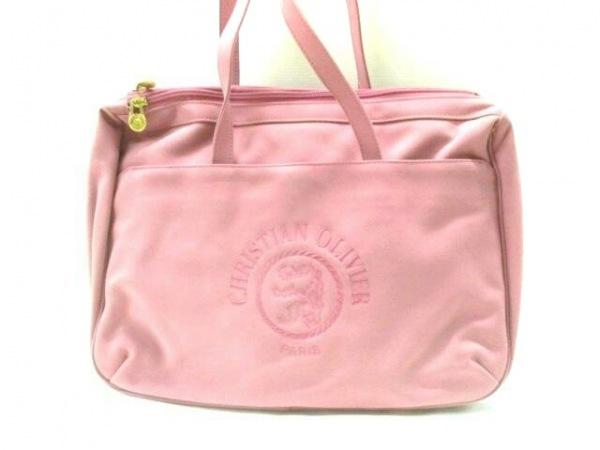 【中古】 クリスチャン オリビエ CHRISTIAN OLIVIER ショルダーバッグ ピンク 刺繍 ナイロン