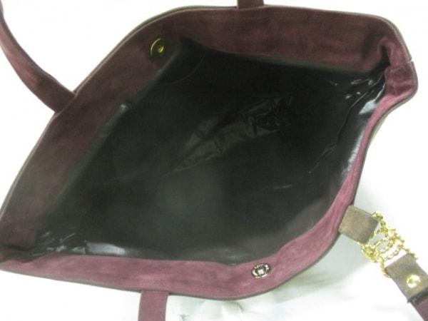 キミジマ トートバッグ ダークブラウン×ボルドー×ゴールド スエード×金属素材