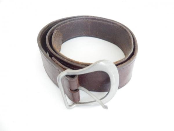 ディーアンドジー ベルト 85 ダークブラウン×シルバー レザー×スエード×金属素材