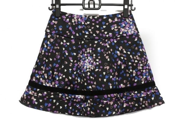 アプワイザーリッシェ スカート サイズ1 S レディース 黒×パープル×マルチ ハート