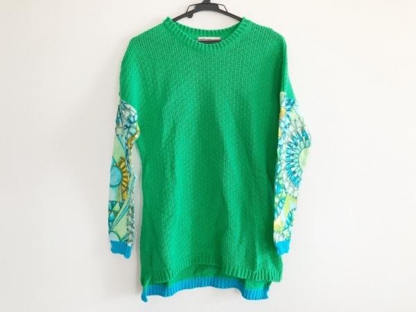 スウォッシュ 長袖セーター サイズS レディース美品  グリーン×ライトブルー×マルチ